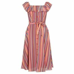 Yumi Stripe Print Midi Bardot Dress