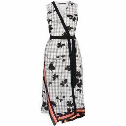 Karen Millen Checked Floral Midi Dress
