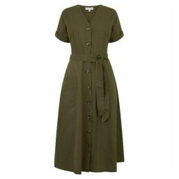 Warehouse Linen Shirt Midi Dress