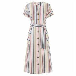 Warehouse Multi Stripe Midi Dress