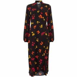 Warehouse Sunset Floral Wrap Midi Dress