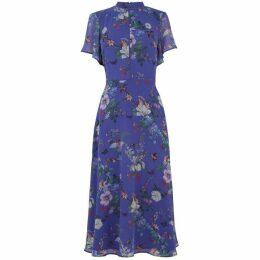 Oasis Bloom Chiffon High Neck Midi Dress
