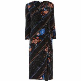 Warehouse Floral Stripe Midi Wrap Dress