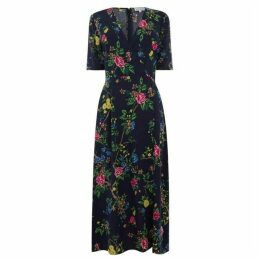 Warehouse Verity Floral Midi Wrap Dress