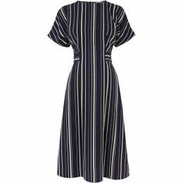 Warehouse Stripe Button Side Midi Dress