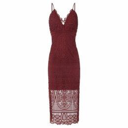 Bardot Thin strap v neck lace midi dress