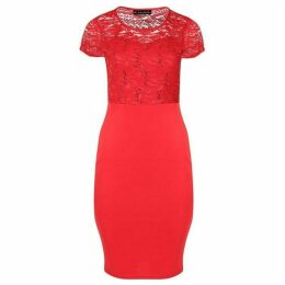 Be Jealous Cap Sleeve Lace Insert Midi Dress