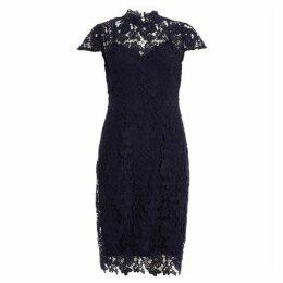 Quiz Navy Crochet Cap Sleeve Midi Dress
