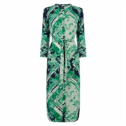 Warehouse Scarf Print Midi Shirt Dress
