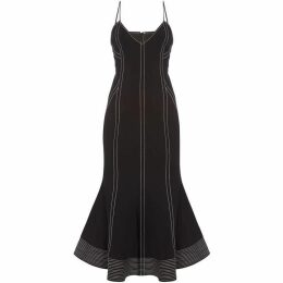 CMEO Fitted midi dress with piping and flare hem