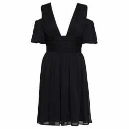 French Connection Constance Draped Cold Shoulder Midi Dress
