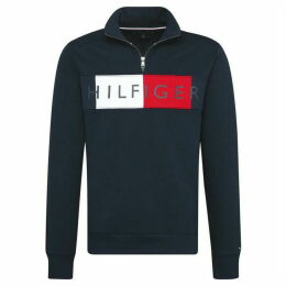Tommy Hilfiger Logo Zip Mock Sweater