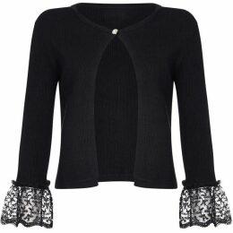Yumi Lace Sleeve Ribbed Cardigan