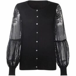 Yumi Knitted Cardigan With Statement Lace Sleeves
