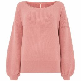 Free People Long Sleeve Wide Neck Pink Jumper