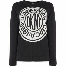 DKNY Crew neck graphic logo jumper