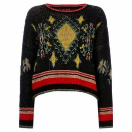 Maison Scotch Jacquard pullover crew neck knit