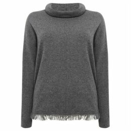 Repeat Cashmere Roll neck jumper with fringed hem