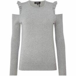 DKNY Crew neck cold shoulder ruffle jumper