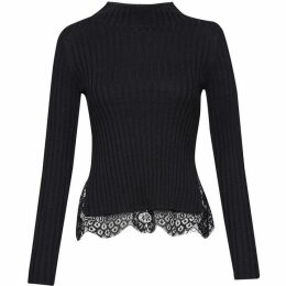 French Connection Nicola Knits Lace High Neck Jumper