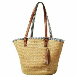 Yumi Natural Weaved Bag With Stripe Lining