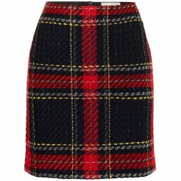 Oui Check print skirt