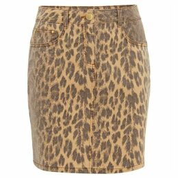 Damsel in a Dress Alexia Leopard Print Denim Skirt