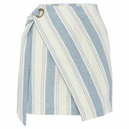 Free People Asymmetric Striped Mini Skirt