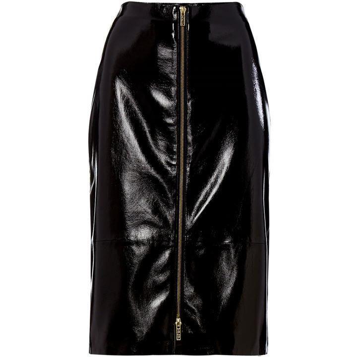 Biba Crackle PU zip front skirt