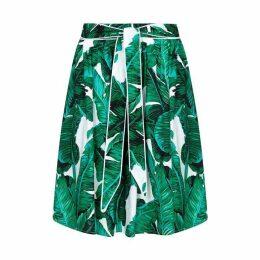 Yumi Palm Print Skater Skirt