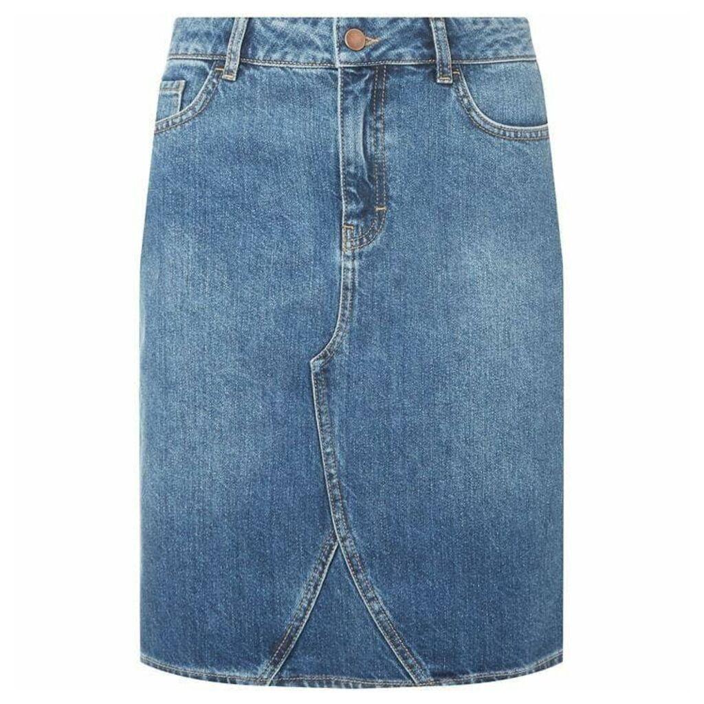 Dorothy Perkins Tall Medium Wash Denim Skirt