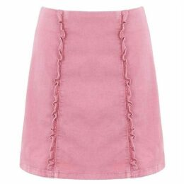 Oasis Pink denim ruffle skirt