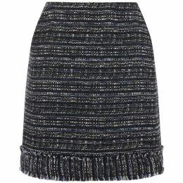 Warehouse Navy Tweed Fringe Skirt