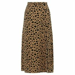 Warehouse Animal Print Button Side Skirt