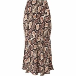 Whistles Snake Print Bias Cut Skirt