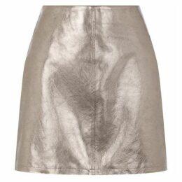 Warehouse Metallic Leather Mini Skirt