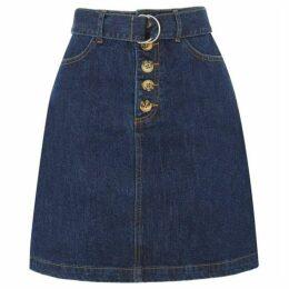 Warehouse D-Ring Belted Denim Mini Skirt