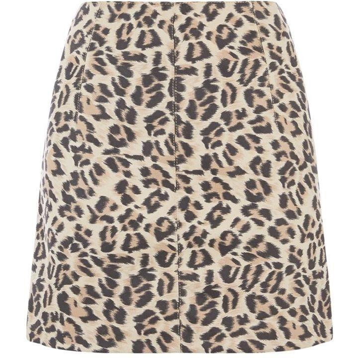 Oasis Faux Suede Leopard Skirt