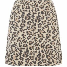 Oasis Faux Suede Leopard Skirt