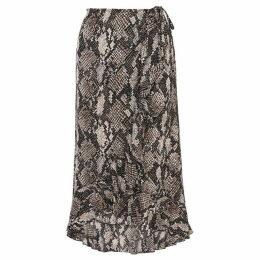 Karen Millen Snakeskin Wrap Midi Skirt
