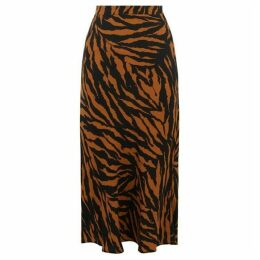 Warehouse Tiger Print Midi Skirt