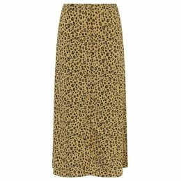 Warehouse Leopard Print Midi Skirt