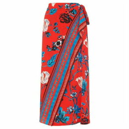 Whistles Scarf Print Border Wrap Skirt