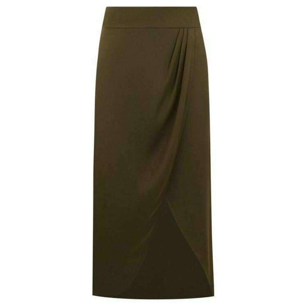 Oasis Satin Wrap Tie Side Skirt