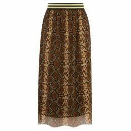 Warehouse Snake Print Mesh Skirt