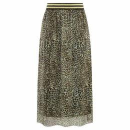 Warehouse Animal Print Mesh Skirt