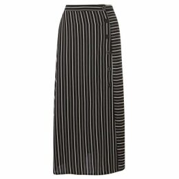 Warehouse Stripe Button Side Midi Skirt