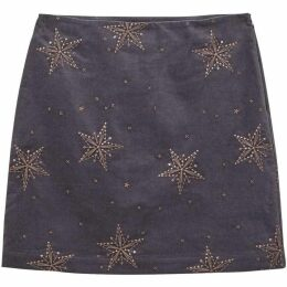 White Stuff Star Cloud Emb Velvet Skirt