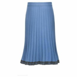Smart and Joy Lace Trimming Pleated Skirt