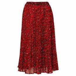 Biba Red leopard midi skirt